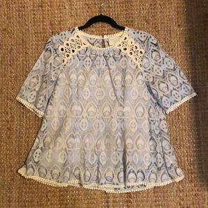 Anthropologie HD in Paris Light Blue Lace Top